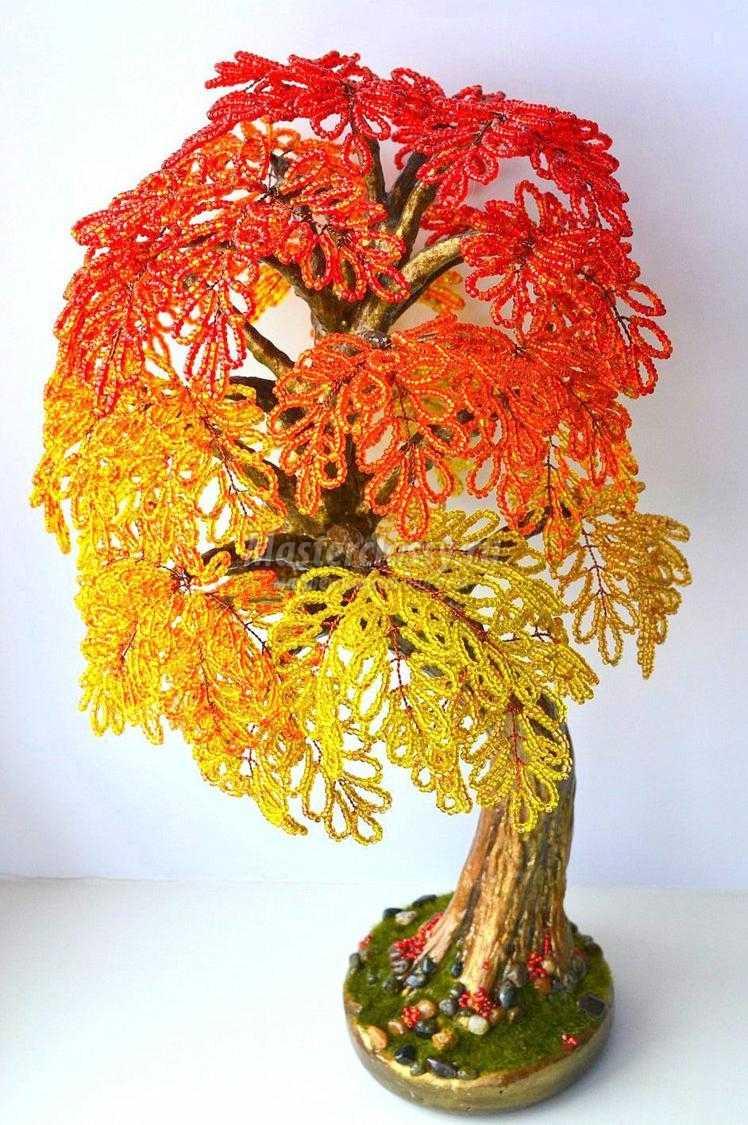 Деревья из бисера на осень