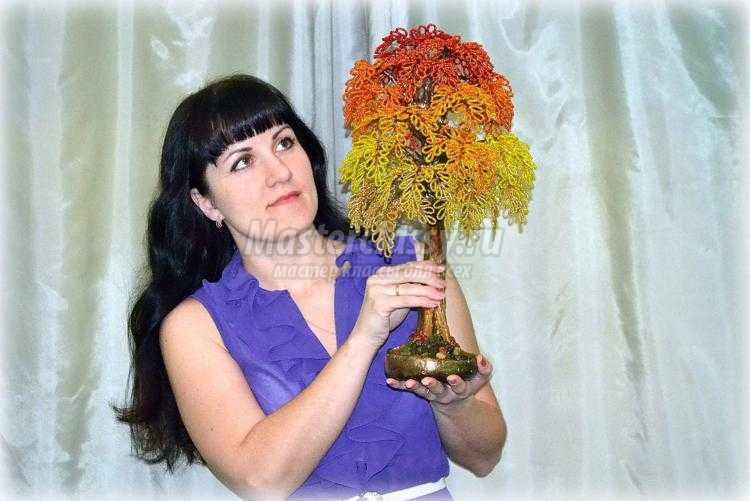 Дерево из бисера золотая осень фото