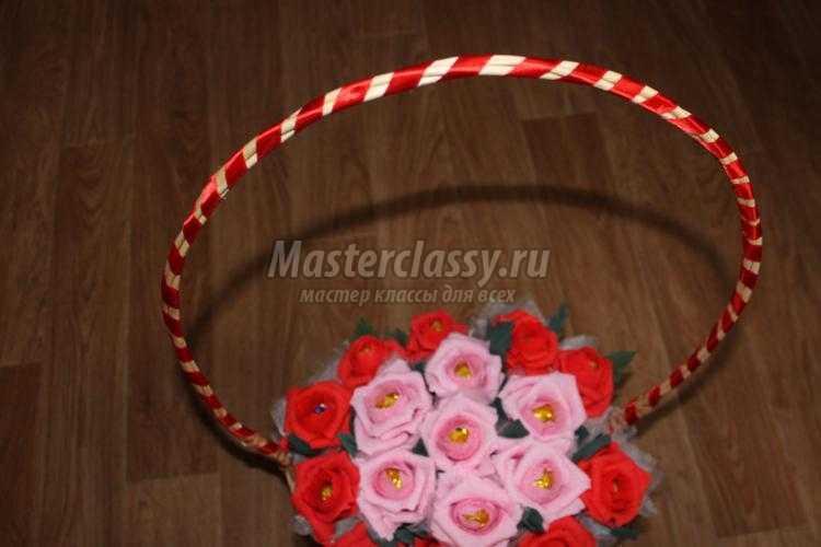 корзинка с розами из конфет и гофрированной бумаги