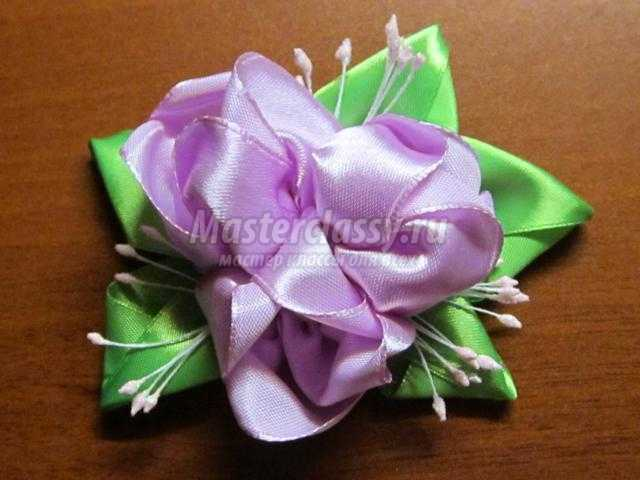 Брошь цветок из атласной ленты своими руками мастер класс
