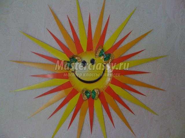 Поделка солнышко в детский сад из одноразовой тарелке 9