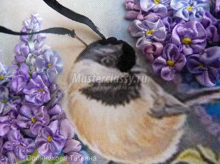 Ышивка лентами птица мастер класс с фото #6