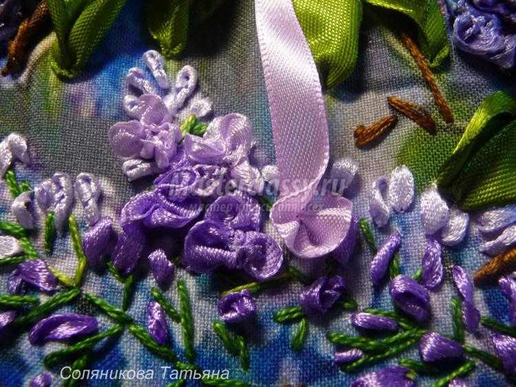 Вышивка лентами листьев для сирени 32