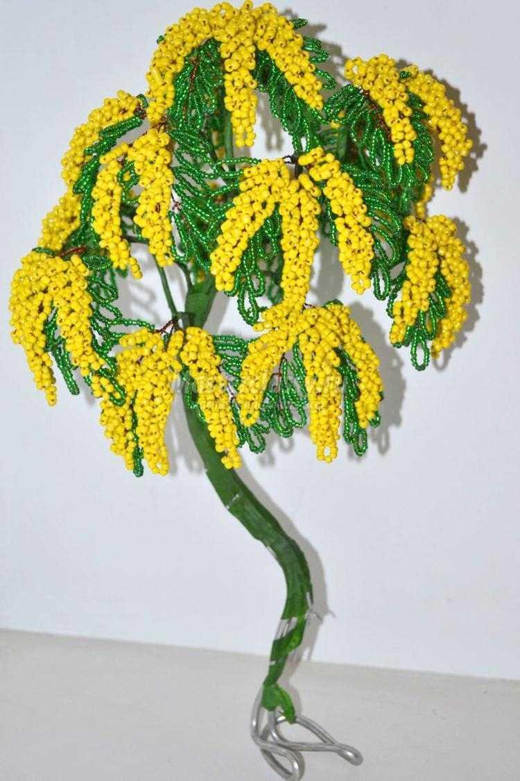Дерево мимоза из бисера мастер класс с пошаговым фото