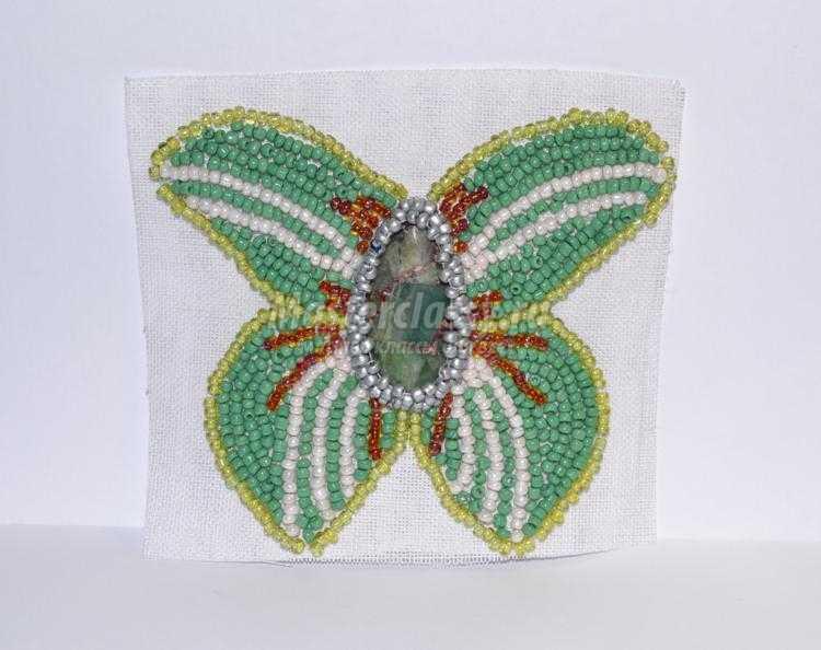 Вышивка бисером брошь бабочка