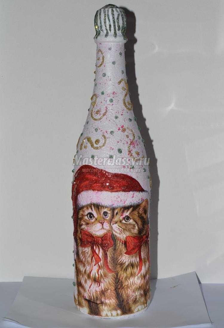 декупаж шампанского с кракелюром к Новому году