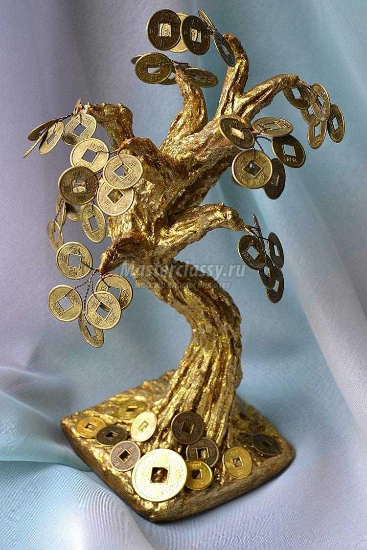 Денежное дерево с монетами. Золотой бонсай