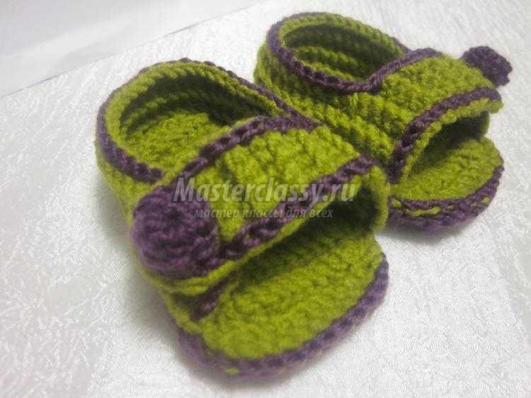 Вязаные сандалики крючком для малышей от 6 до 12 месяцев. Мастер