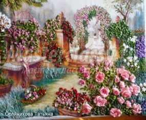 Вышивка лентами картины. Розовый рай. Часть 7. Мастер-класс с пошаговыми фото