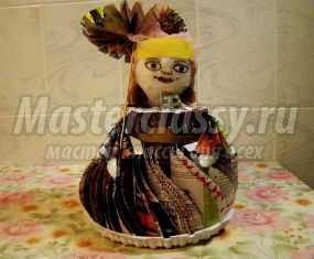 Кукла из старых журналов. Барышня-крестьянка. Мастер-класс с пошаговым фото