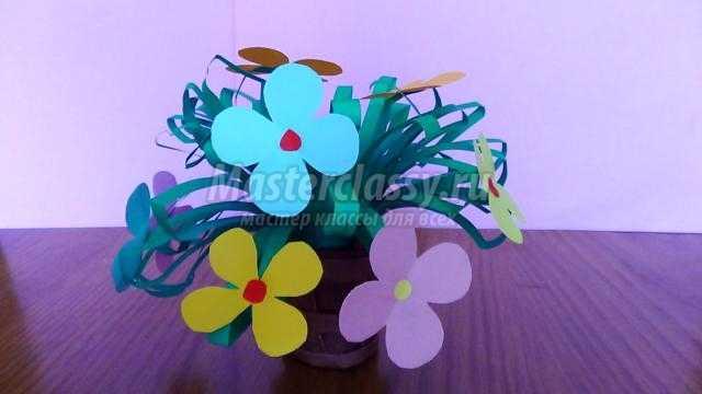 летние поделки из бумаги. Корзина с цветами