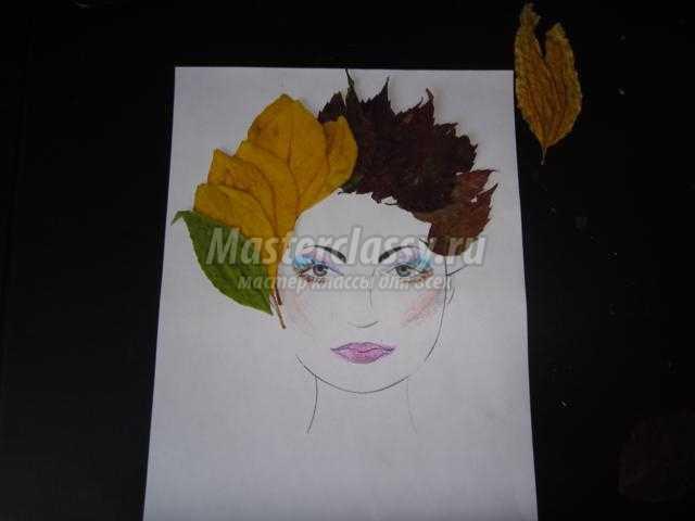 аппликация из листьев для детей 3-4 лет. Портрет осени