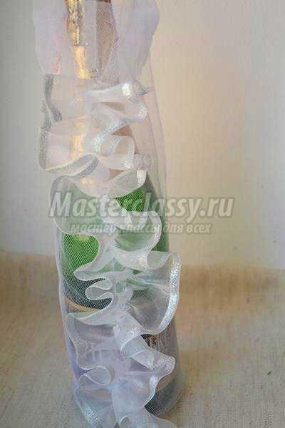 Как украсить бутылку шампанского пошагово