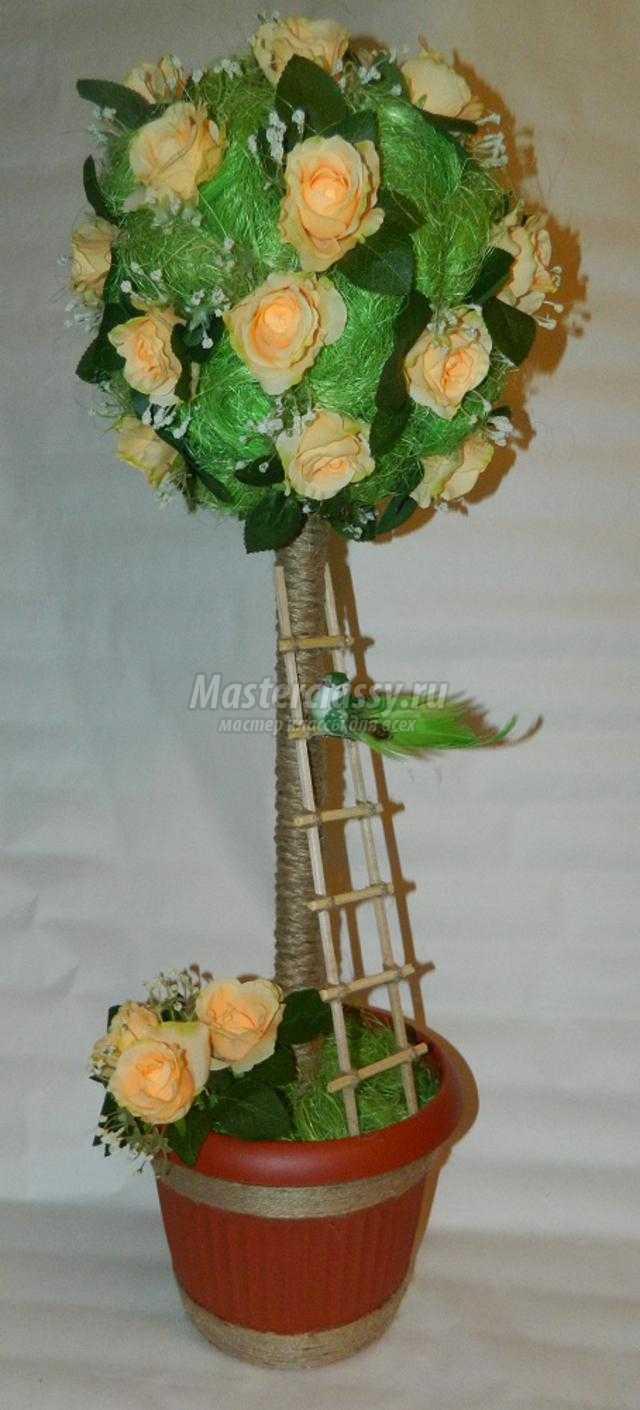 топиарий из сизаля и цветов. Розы