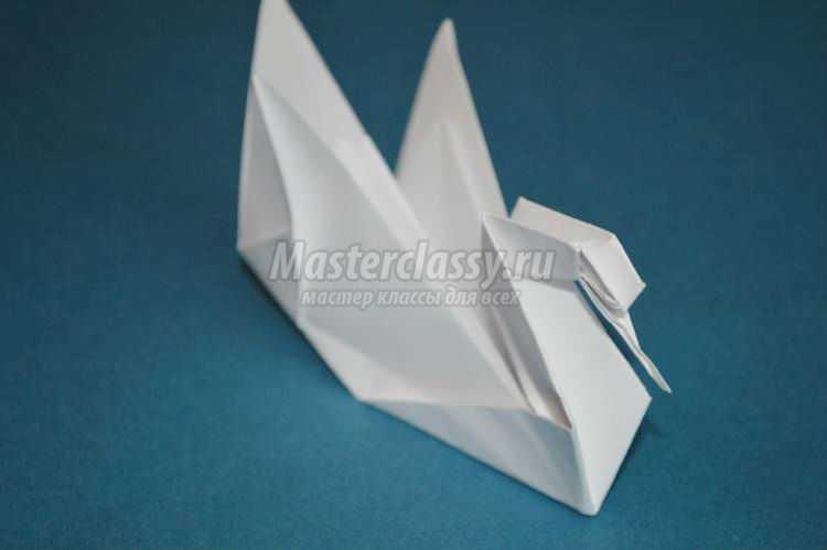 оригами птицы. Белый лебедь