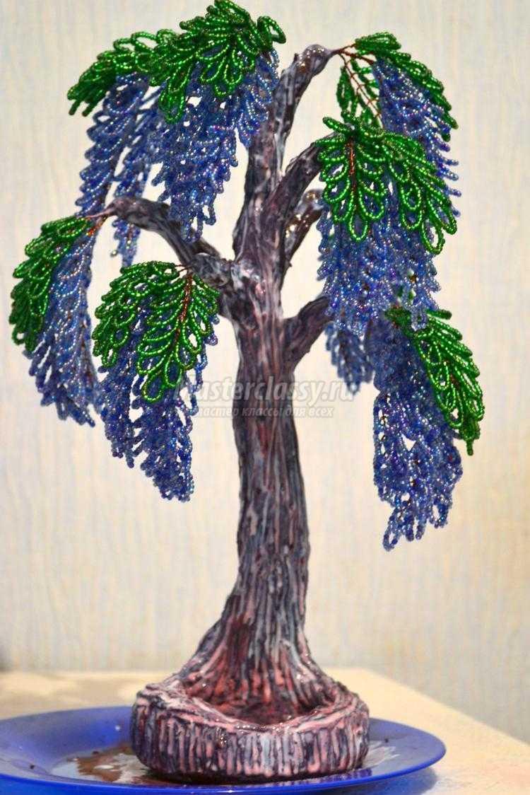 деревья из бисера. Глициния с ночником