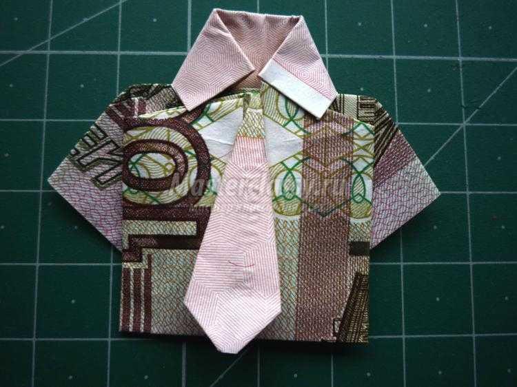 Денежная рубашка без галстука как сделать