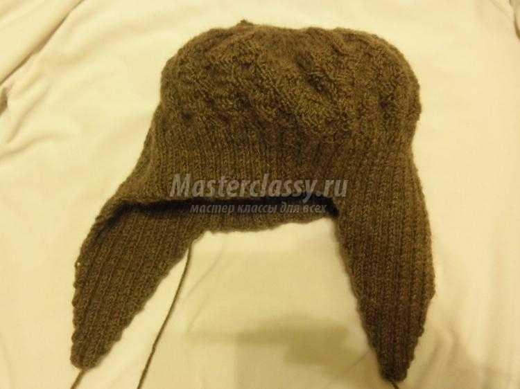Вязаная шапка ушанка своими руками 88