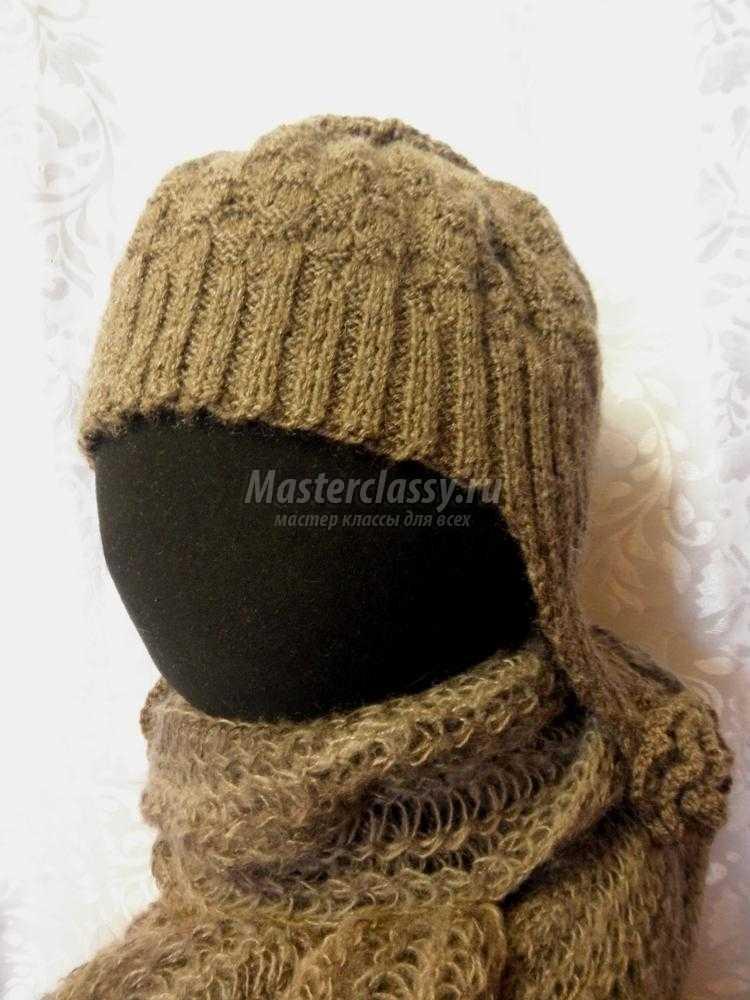 Вязаная шапка ушанка своими руками 82