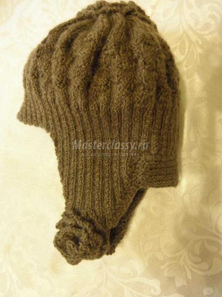 вязаная женская шапка-ушанка своими руками