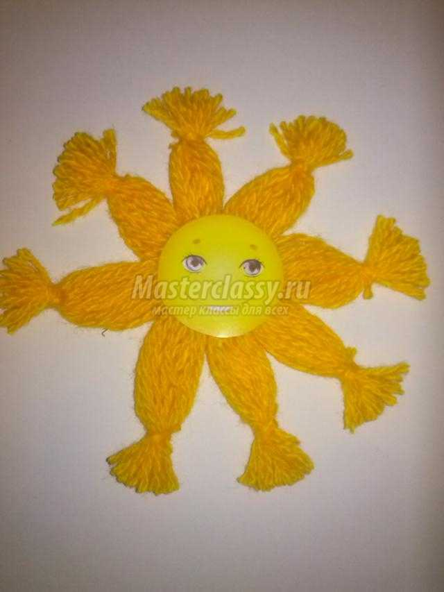 Поделка солнышко своими руками из ниток 27