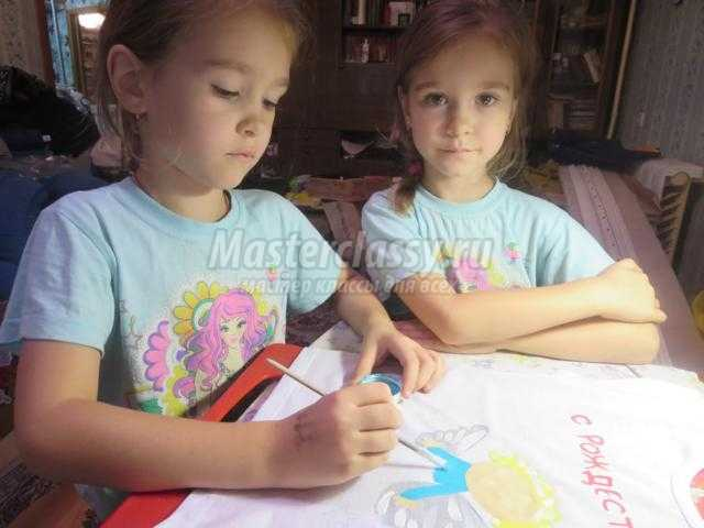 Рождественская роспись футболок акриловыми красками. Мастер-класс с пошаговыми фото