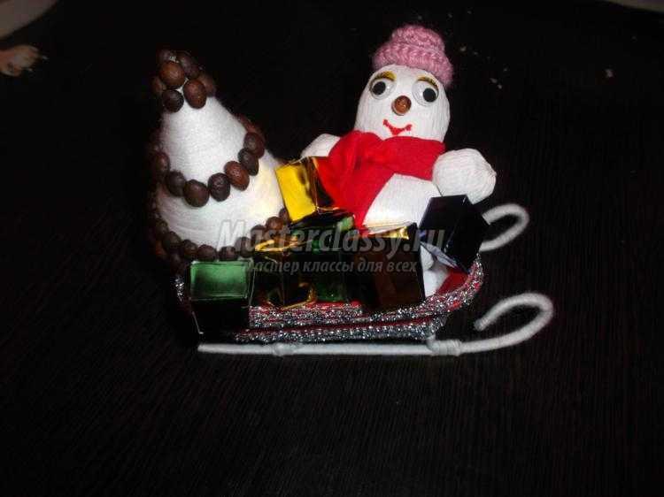 Поделка снеговик на санках