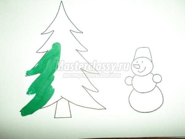 """Рисование пластилином. Картина """"Новогодняя елочка"""". Мастер-класс с пошаговыми фото"""
