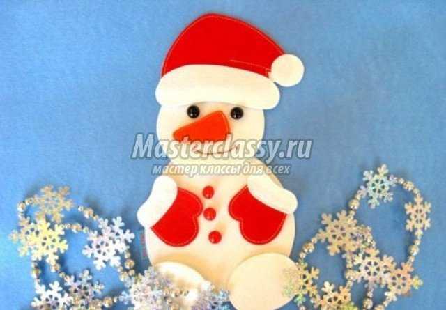Снеговик своими руками открытка
