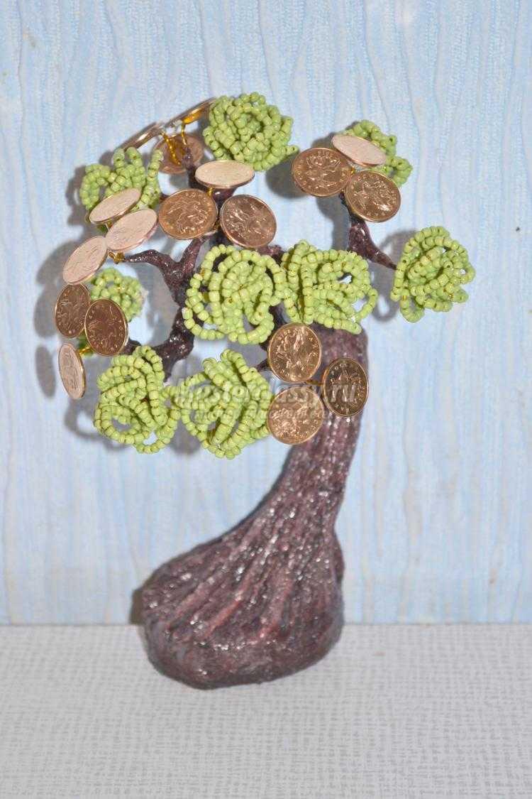 схема плетение из бисера денежное дерево
