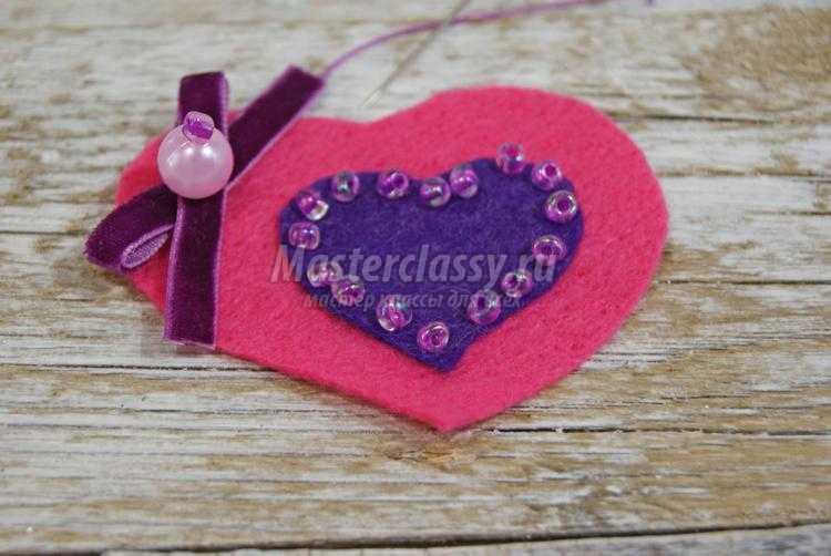 Магнитик-сердечко из фетра ко Дню Валентина