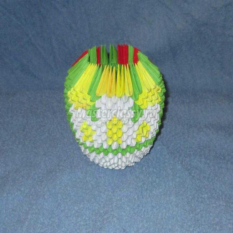 модульное оригами. Пасхальное яйцо с церковью
