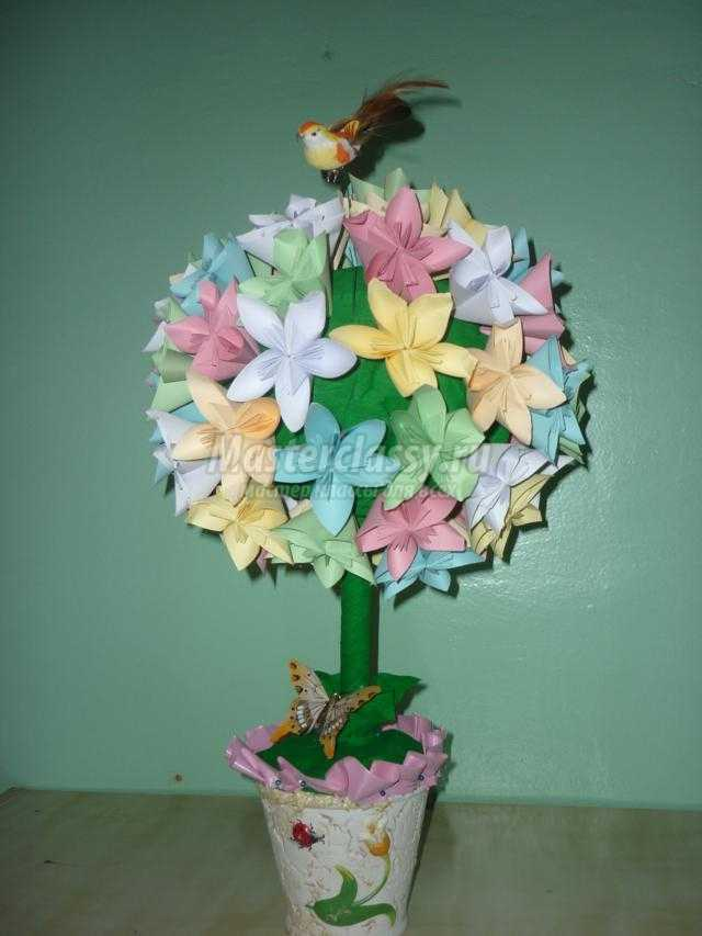 Оригами. Топиарий на счастье ко Дню Святого Валентина. Мастер-класс с пошаговыми фото