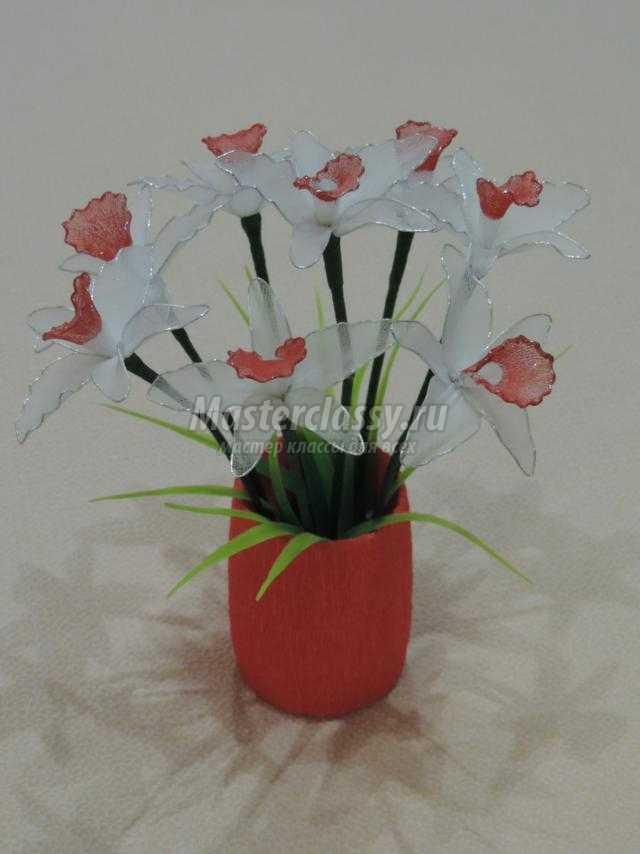 цветы из капроновых колгот и проволоки к 8 Марта