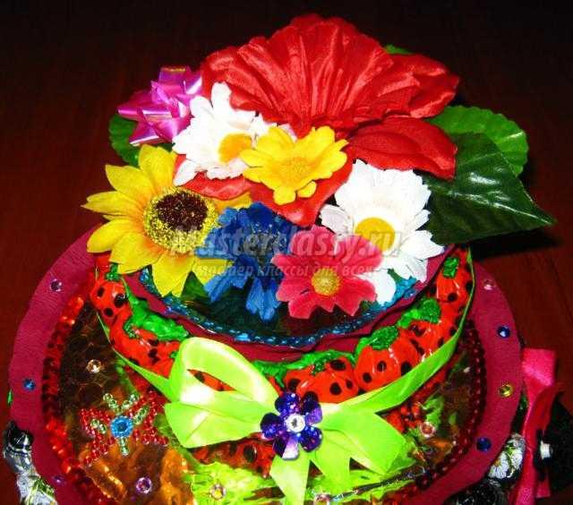 подарок на день рождения. Торт из конфет