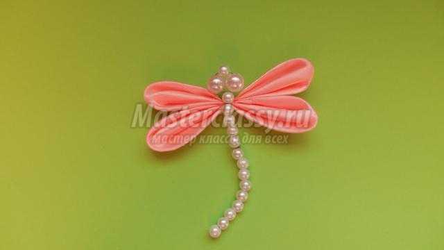 Розовая стрекоза в технике канзаши. Мастер-класс с пошаговыми фото