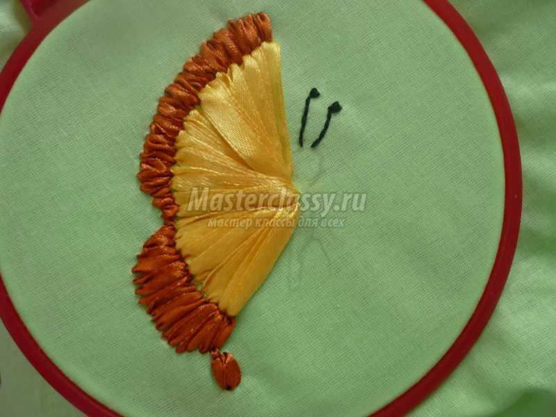 Вышивка лентами для начинающих пошагово бабочка 89