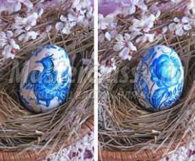 Роспись пасхального яйца под гжель. Мастер-класс
