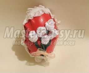 Пасхальное яйцо, декорированное бисером и цветами из лент. Мастер-класс