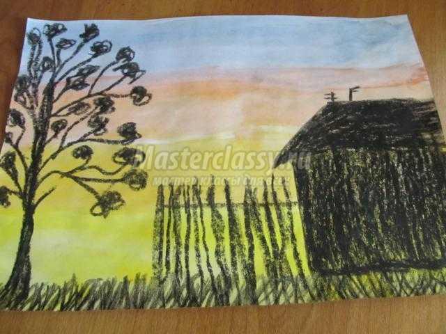 рисование пейзажа красками и мелками. Закат