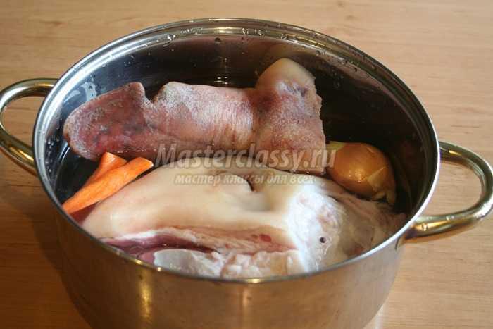 Холодец рецепт пошагово из говяжьей головы
