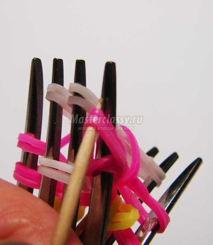 Как сделать игрушки на вилках из резинок