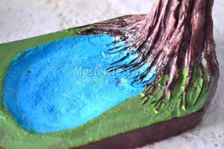дерево из бисера. Безмятежность у озера