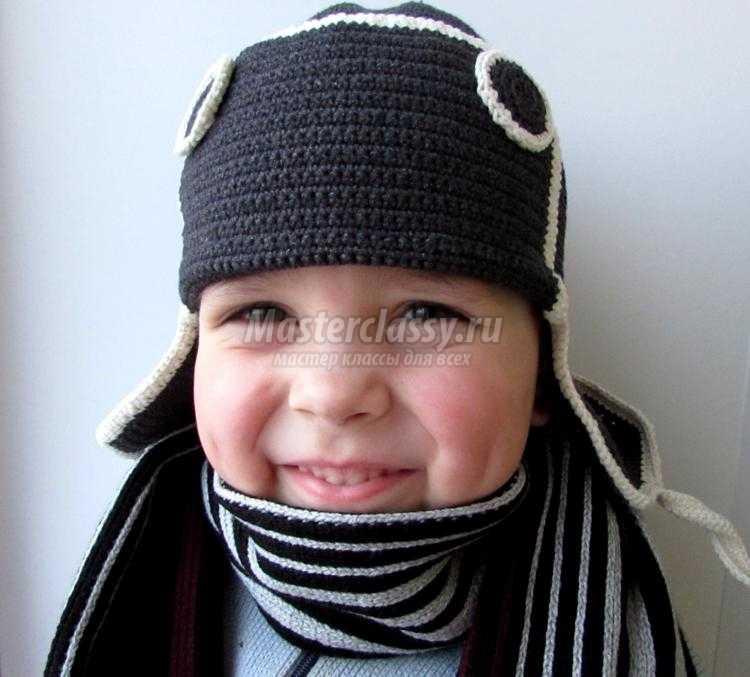 вязание крючком детской шапки-