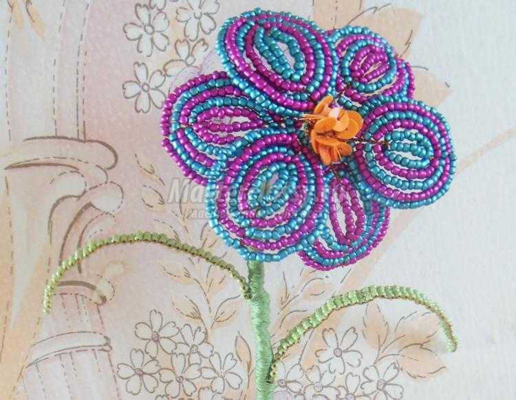 Цветок из бусин своими руками мастер класс фото 875