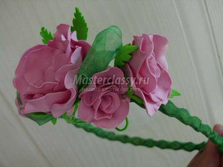 ободок и резинки из фоамирана. Розовое настроение