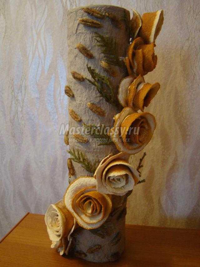 ваза из баночек. Серебряные розы