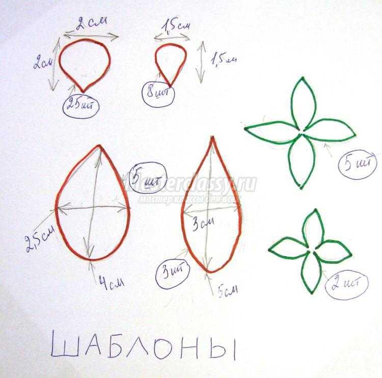 Сакура из фоамирана схемы шаблоны