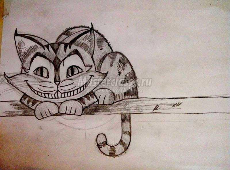как нарисовать чеширского кота