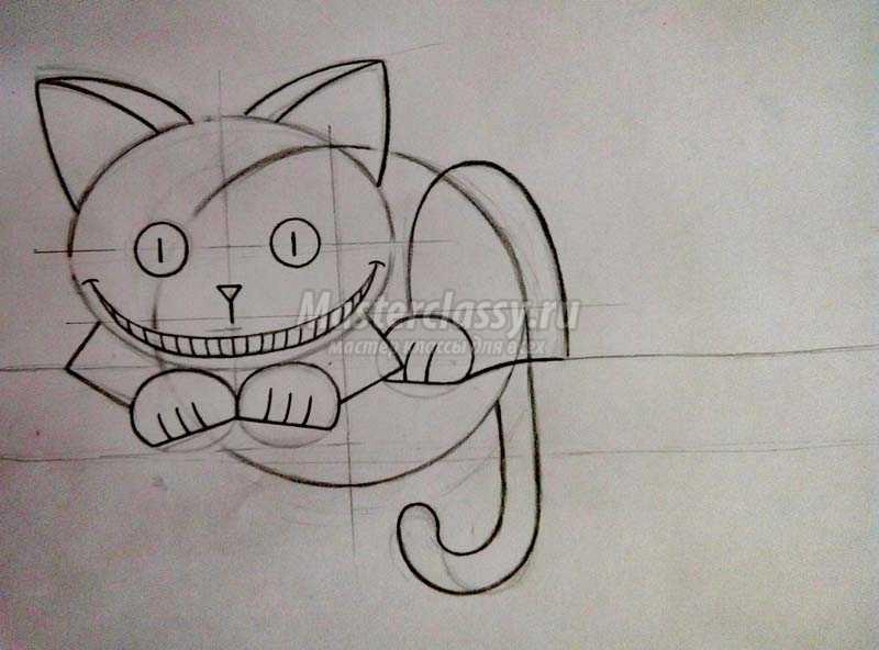 чеширский кот рисунки карандашом